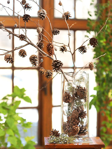 Когда наступает поздняя осень, а до Нового года еще далеко, уют в доме можно создать при помощи композиции из шишек.