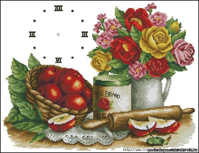 Красивые кухонные часы с фруктами.  Вышивка крестом, схемы.