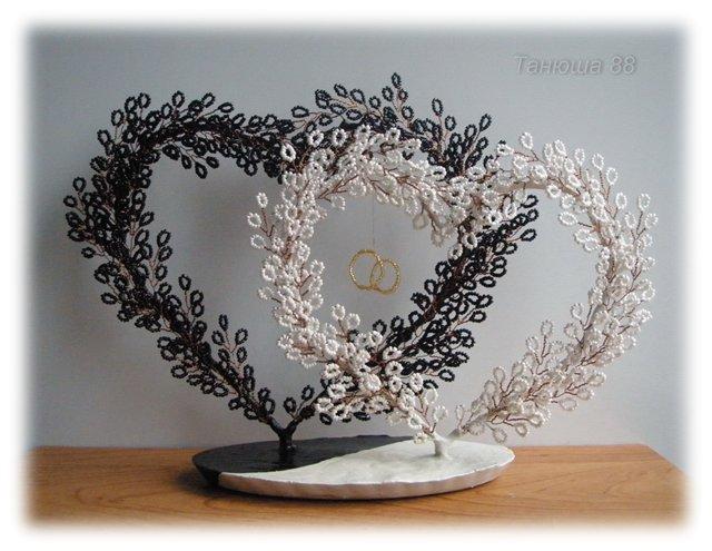 Сердце из бисера дерево на свадьбу своими руками