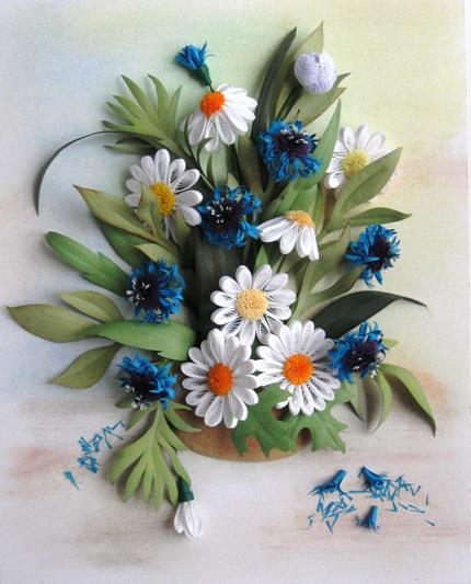 Полевые цветы из лент своими руками мастер класс видео