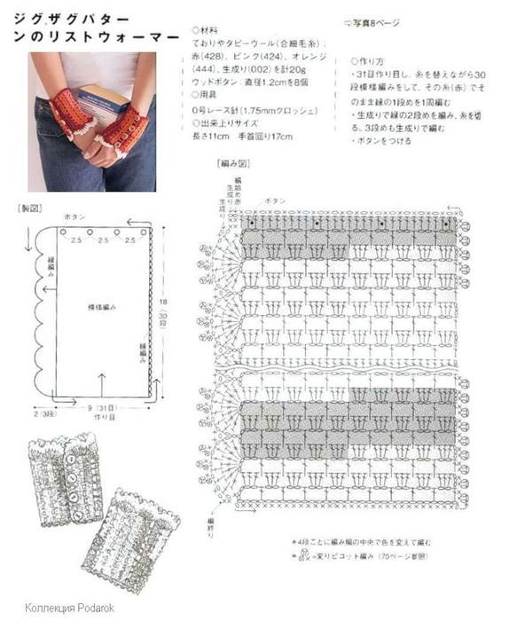 Схемы вязания крючком митенок с описанием