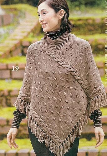 Пончо спицами от Lets Knit