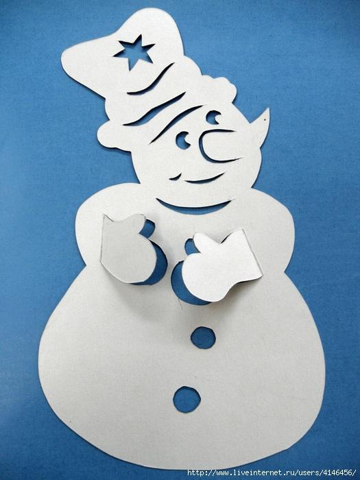 Снеговик из бумаги своими руками на окна