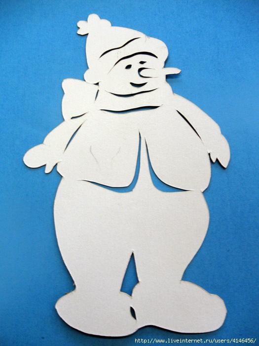 Снеговик из бумаги вырезать своими руками
