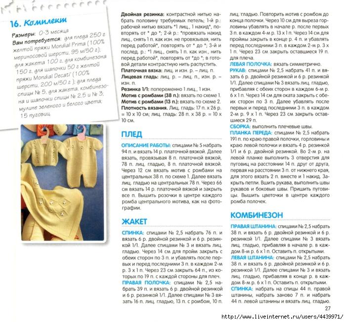 Комбинезон для новорожденного спицами описание и фото
