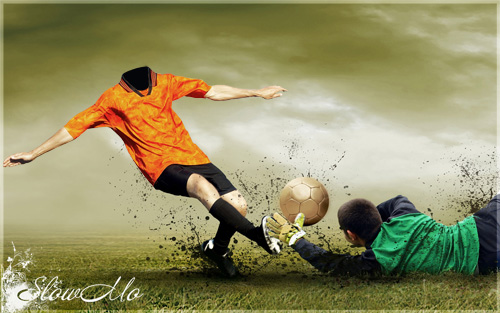 SlowMo, Pphotoshop, Football, Templates for photoshop, Psd, Psd-исходники, Шаблоны для фотошопа, Костюмы, Фотомонтаж, Фотошаблон, Футбол, Футболист, Мяч, Нападающий, Забивает гол, Ногой по мячу/1321907946_FootBall_action_Cover (500x313, 89Kb)
