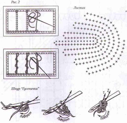 При вязании листиков, начиная со 2-го ряда, крючок вводите под дальнюю...
