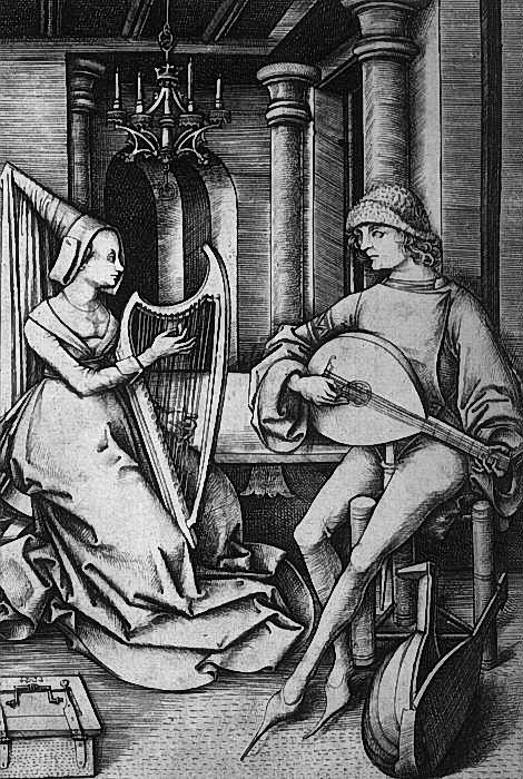 Исраэль ван Мекенем .Лютнист и арфистка. 1490е г. (470x700, 318Kb)