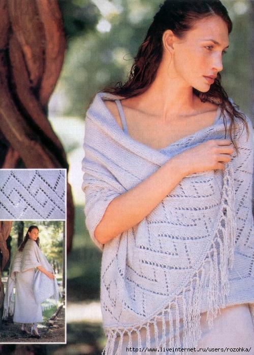 Палантины шарфы спицами 9
