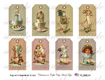 190  w Christmas in Coffee Cups Hand Tags (400x305, 28Kb)