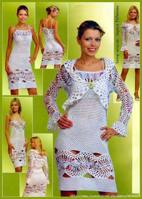 вязаные вечерние платья спицами со схемами.