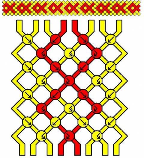 Лёгкие схемы для фенечек косым плетением