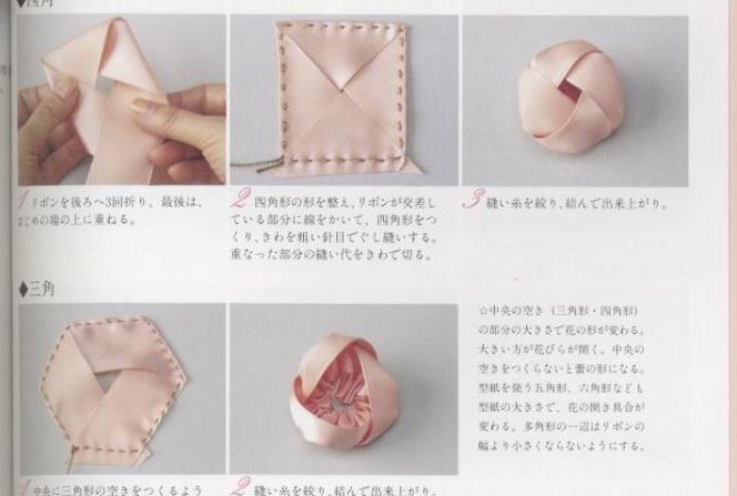 Схемы цветов из ткани.