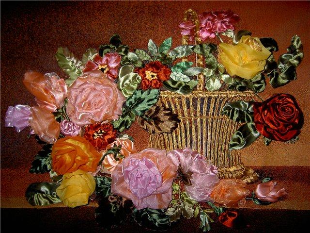 вышивка лентами картины белые розы фото картинки мк - Сумки.