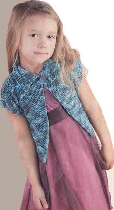 Схема вязания для детей крючком меланжевого жакета для девочки на 5-6 лет.