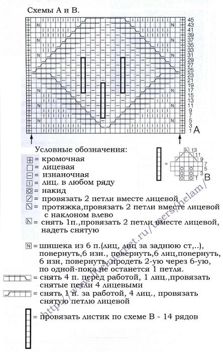 Листик с шишечками:на схеме А указаны только лицевые ряды, в изнаночных...
