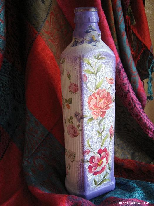 декоративная бутылка, акрил, декупаж, кракелюр, автор Shraddha, 1 (525x700, 301Kb)