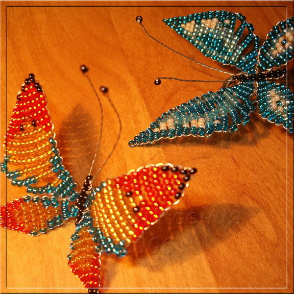 плетение бабочек из бисера для начинающих видео.