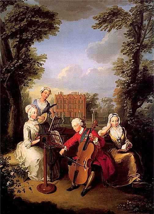 Mercier, Philippe (1689-1760) - Frederick, Prince of Wales and his Sisters at Kew (503x700, 342Kb)