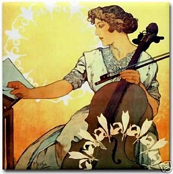 Alphonse Mucha. Woman Cellist (583x584, 265Kb)