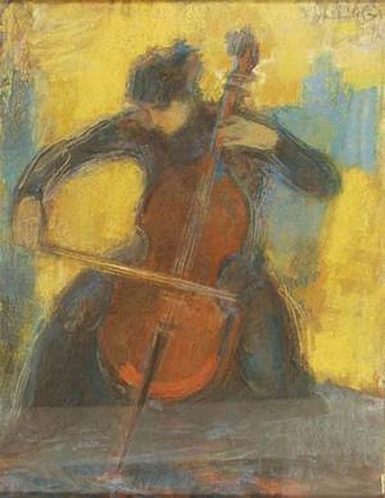 Mihaltz, Pal - Woman Playing Violoncello 1957 (423x547, 161Kb)