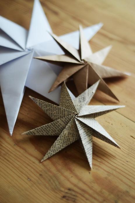 Составные звезды-снежинки из бумажных квадратиков 10 на