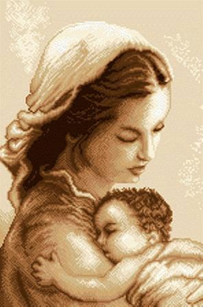 Вышивка. Мать и дитя.