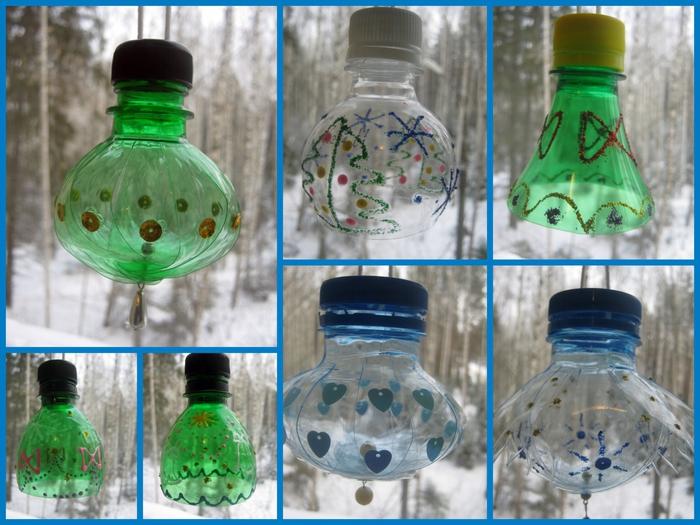 Новогодние игрушки из пластиковых бутылок своими руками на городскую елку