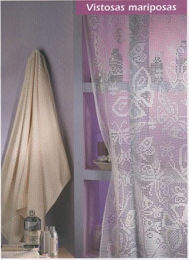 Далее схема.  Чудесная штора филейного вязания.  Всегда будет напоминать о лете.  Штора крючком с бабочками.