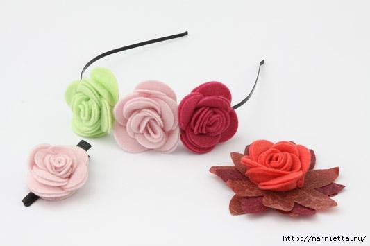 Цветы из фетра своими руками ободок