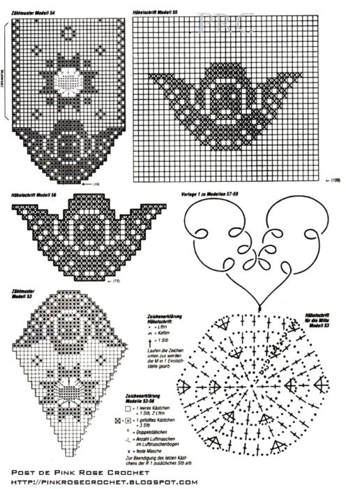 Centrinho Caminho e Anjo em Crochet Filet. gr (496x700, 471Kb)