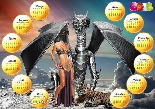 SlowMo, Calendar, 2012, Dragon, Pphotoshop, Templates for photoshop, Psd, Psd-исходники, Шаблоны для фотошопа, Календарь, Дракон, Девушка и дракон, Тигр, Девушка с тигром/1321300926_Calendar_Dragon_Template_Cover (500x352, 140Kb)
