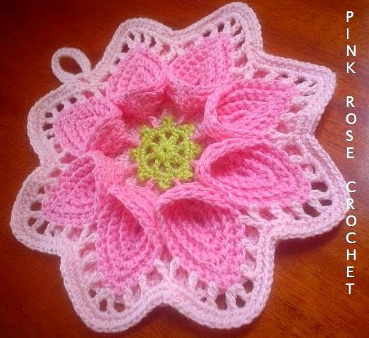 Pega Panelas. Crochet Calla Lily Potholders - Pink Rose (521x477, 52Kb)