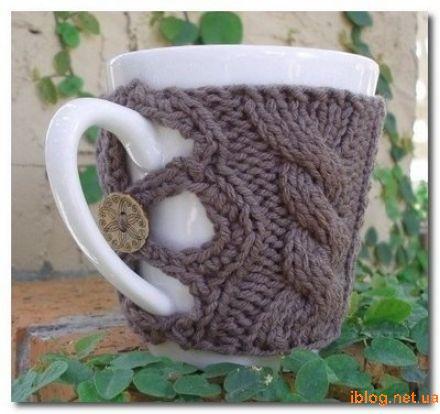 чехол для чашки Вязание и