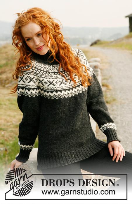 Схема вязания женского свитера спицами, крючком.  Свитер.  Образ защищенной женщины.