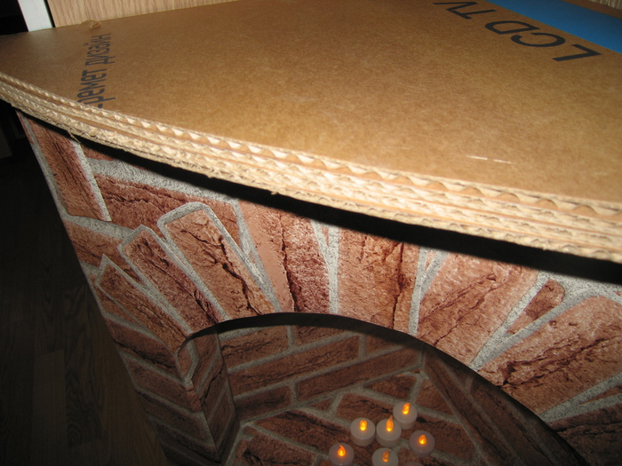 Камин из картона пошаговая
