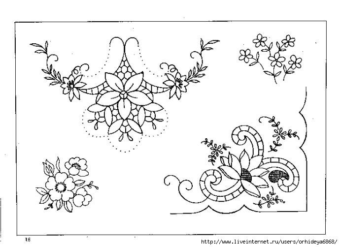 Вышивка ришелье схемы для скатерти 124