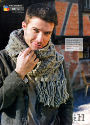 Комментарий: Вязаные мужские шапки и шарфы.