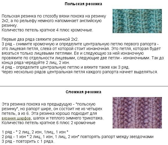 Виды резинок круговыми спицами схемы