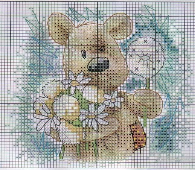 Медвежата — схема вышивки