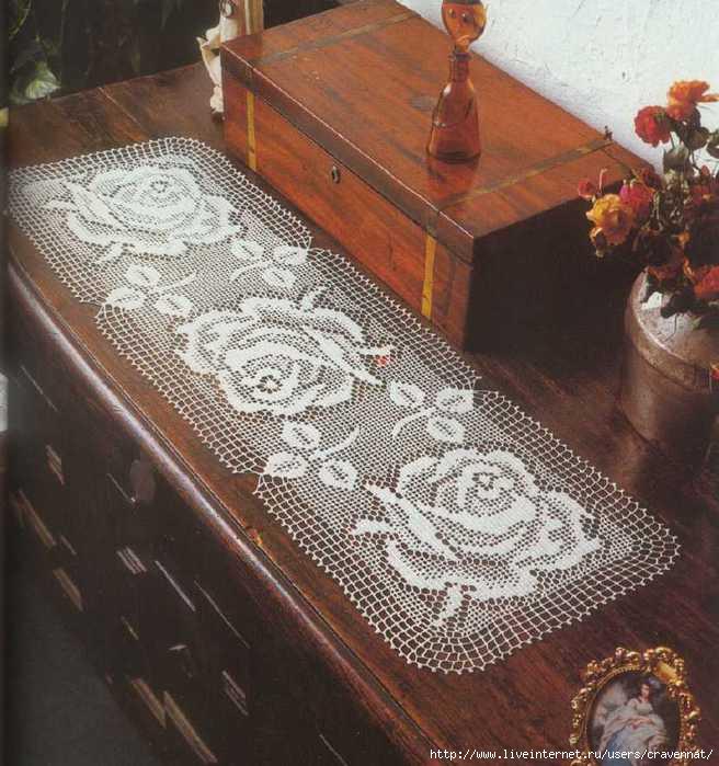Прямоугольная салфетка с розами.  17:28. схема.  Без заголовка.