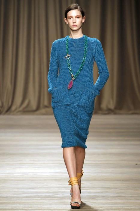 Вязаное платье синего цвета Iceberg.