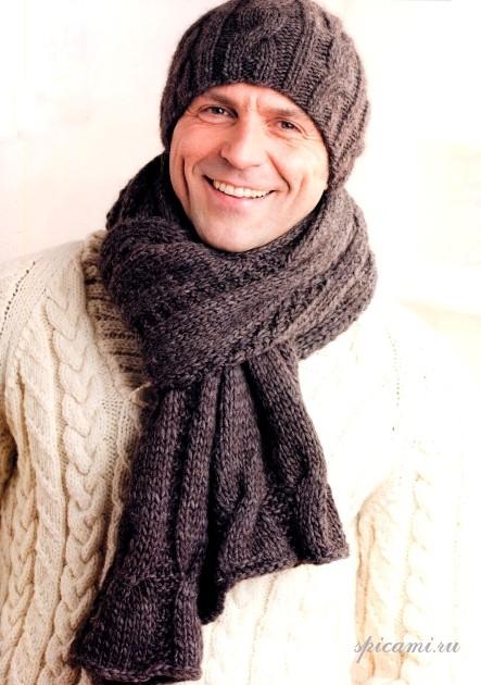 Вязание мужского шарфа спицами 2