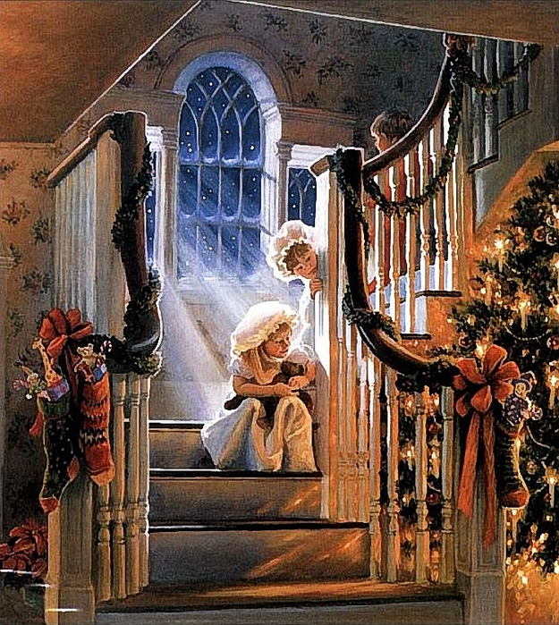 Christmas_Victorian_Kids_On_Steps (625x700, 441Kb)