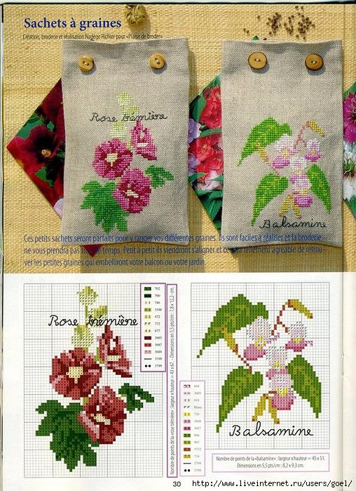 Схемы вышивки мешочка для трав