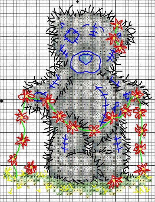 Мишка Тедди - схема вышивки