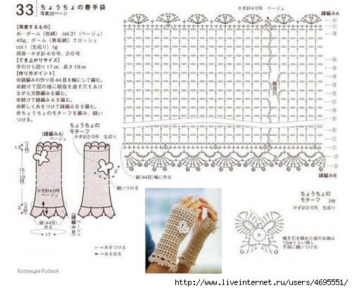 Схемы вязания для митенок спицами схема 386