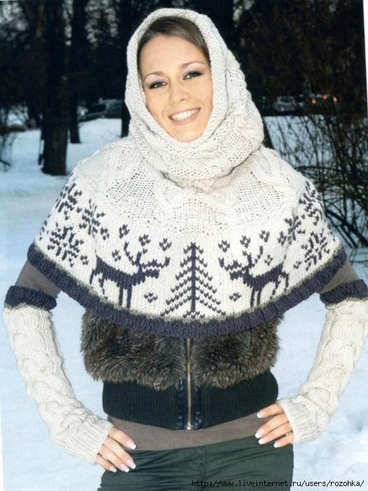 Перед Вами красивый зимний комплект - вязаная пелерина и шарф-хомут.  Вязаная пелерина и шарф хомут связаны спицами...