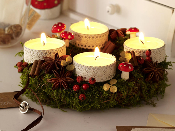 Как украсить к Новому Году свечи своими руками