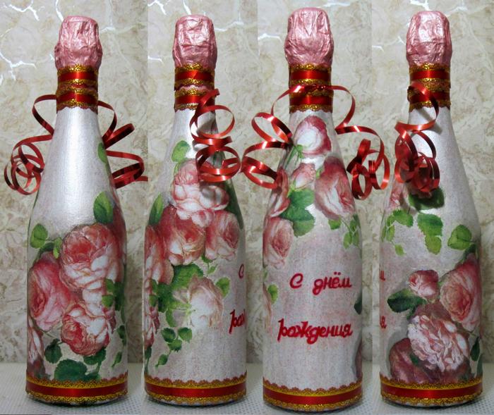 Декупаж бутылки на день рожденье
